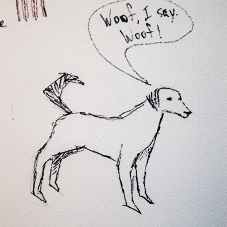 Merrill Library graffiti - Dog<br />