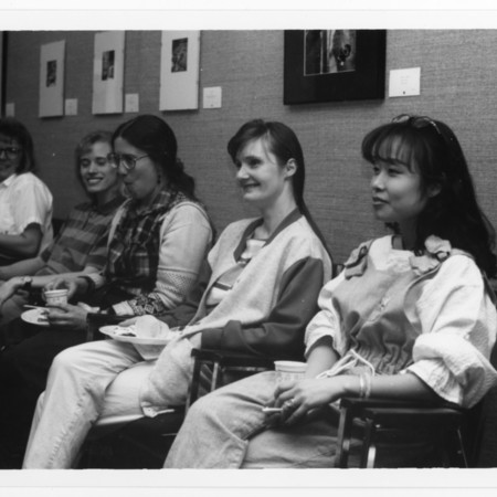 Becky Olson, Melanie Shaw, Randy Williams, Betty Dance & others at a buffet in ML 102<br />