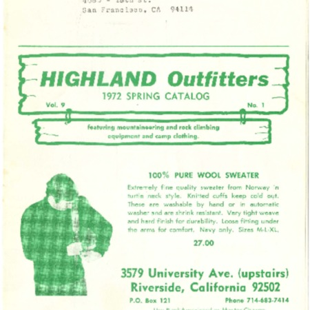 Highland Outfitters, 1972
