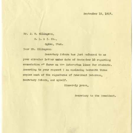 Nelson to Ellingson, Student School Ticket Book Request, 1917<br />