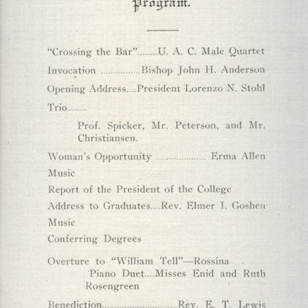 1917 UAC Commencement Program Page 1
