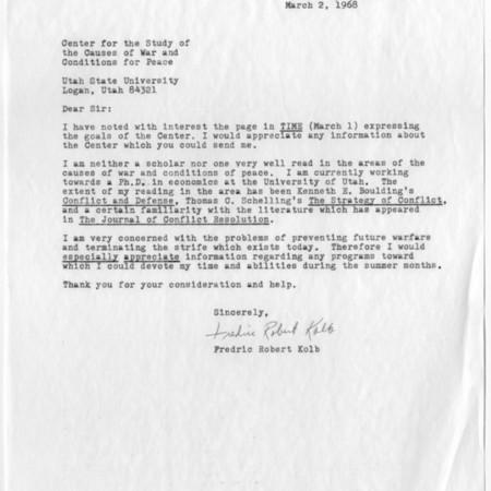 Letter - Fredric Robert Kolb