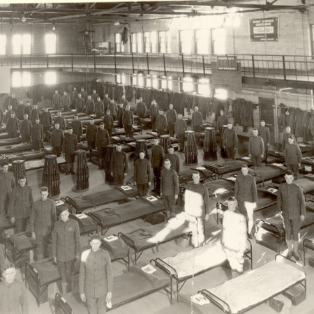 Student Army Training Corps (SATC) in the Smart Gymnasium barracks, 1918