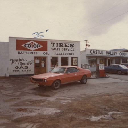 """Front view of the """"Castle Valley Co-op"""", Huntington, Utah;"""