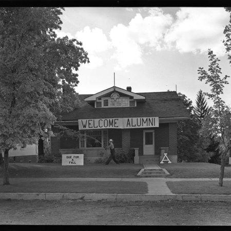 Kappa Sigma homecoming house decorations, 1949