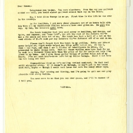 Jack London letter to Charmian London, dated November 19, 1912