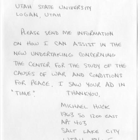 Letter - Michael Huck