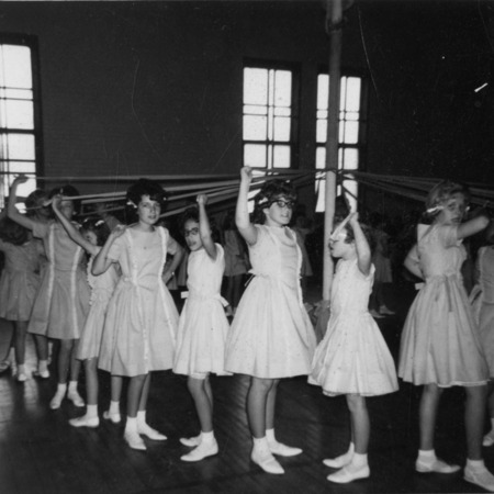 Maypole dancers for the Mendon May Day celebrations, probably around 1964
