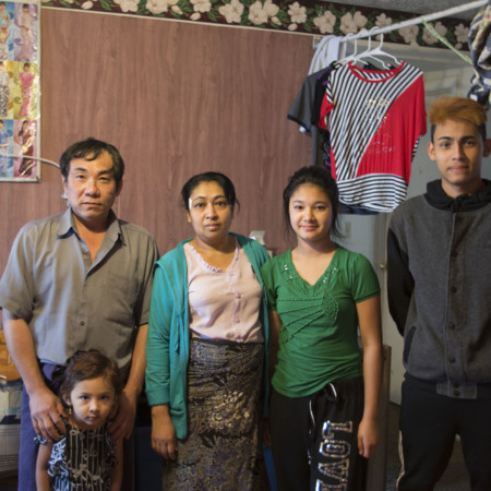Kaw Lay and his family. Khin Mar Cho (wife) Ma se Ma (daughter) Sean (son), Thuza (granddaughter)