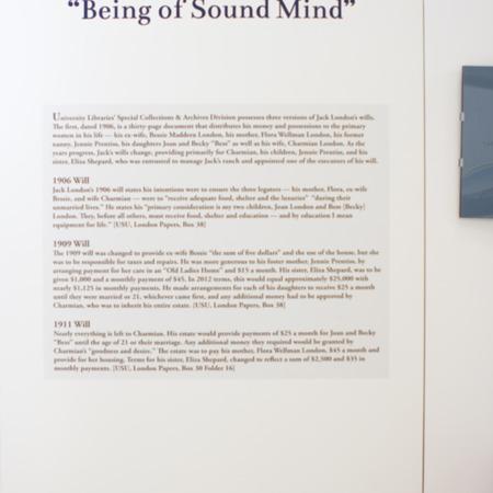 Jack London Exhibit, Wills panel view 2