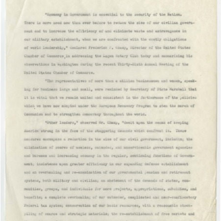 Cold War era speech by Frederick P. Champ, 1950