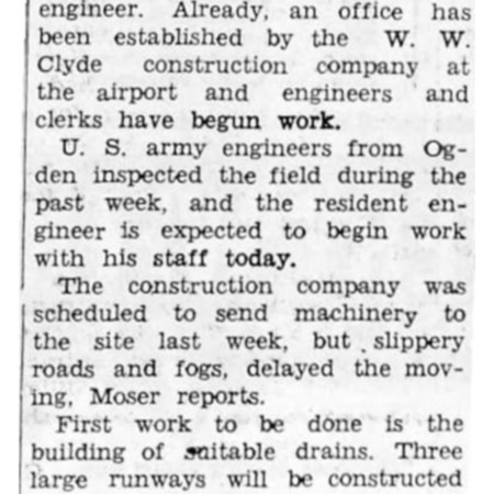 """Logan-Cache Airport Job Begins This Week"" article in the North Cache News from January 30, 1942"