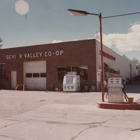 "Side view of ""Sevier Valley Co-op"" in Richfield, Utah;"