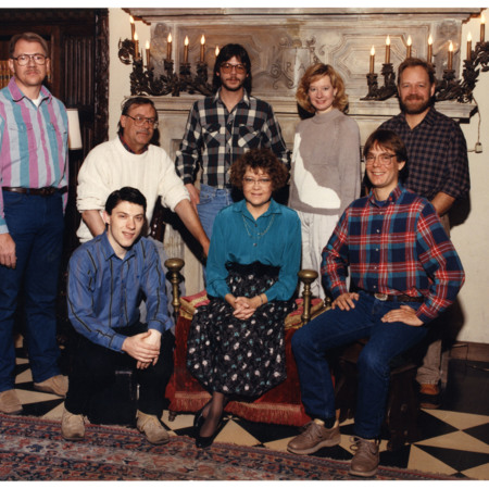 Special Collections & Archives staff in the Hatch Room, left-right: Glen, A.J. Simmonds, Peter Schmid, Lisa Huren, Bob Parson. Front row; Noel Carmack, Ann Buttars & Brad Cole<br />