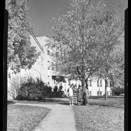 Students in front of Anthon H. Lund Hall in the fall, undated