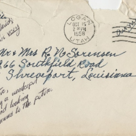 Correspondence from Alma N. Sorensen to Robert N. Sorensen, October 15, 1958