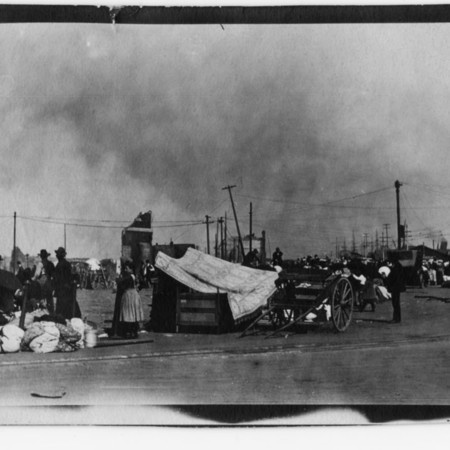 """""""Refugees camped in front of the Ferry Building."""""""