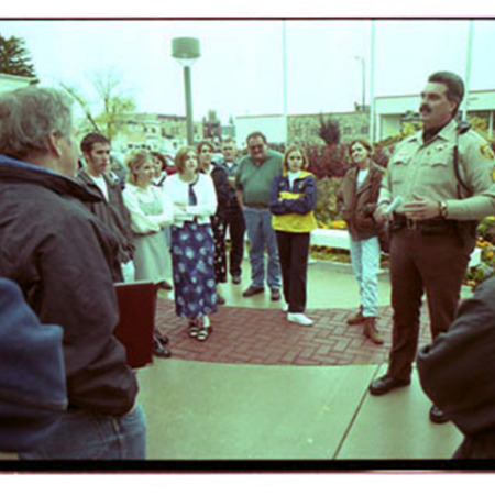 Cache County Sheriff, Brian Locke, talks to parents of trespassing youth -Image 1 of 23