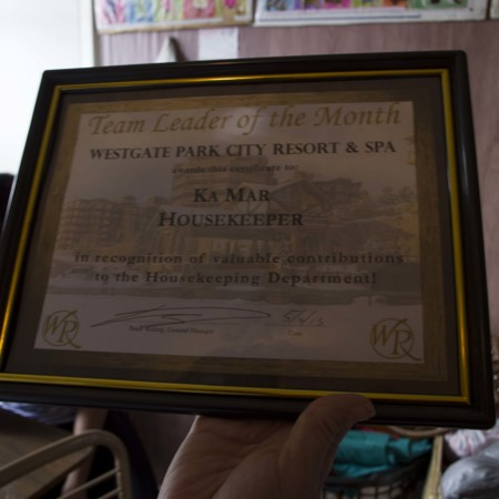 "One of Ka Mar's several award certificates. The award reads: """"Westgate Park City Resort & Spa Awards this Certificate to: Ka Mar HouseKeeper Team Leader of the Month in recognition of valuable contribution to the Houskeeping Department,"""" Logan, Utah, May 15, 2015"