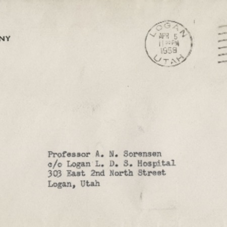 Correspondence from Frederick P. Champ to Alma N. Sorensen, April 5, 1958