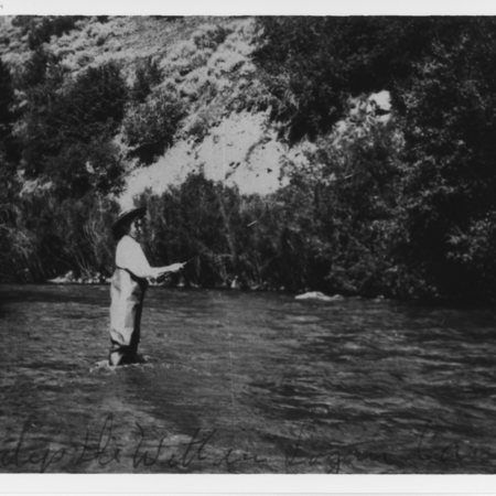 Gladys DeWitt fishing in Logan Canyon