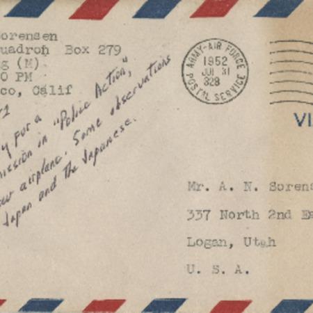 Personal letter from Robert Sorensen to Alma Sorensen, July 30, 1952