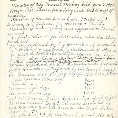 1931 City Council meeting minutes