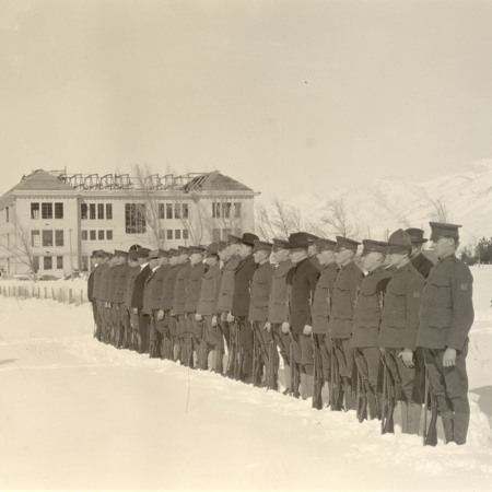 ROTC military formation on the Quad, c. 1918