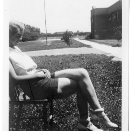 4-H Club girl demonstrating poor posture seated