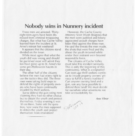 Nobody wins in Nunnery incident
