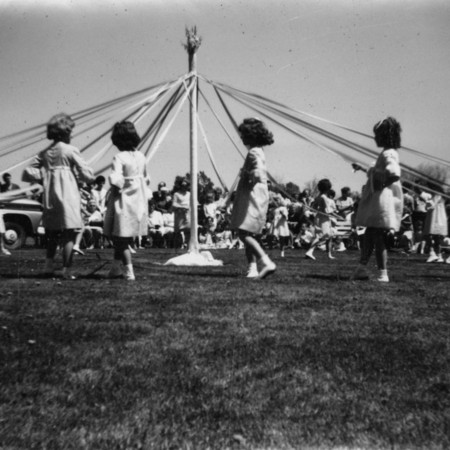 Maypole dancers for the 1968 Mendon May Day celebrations