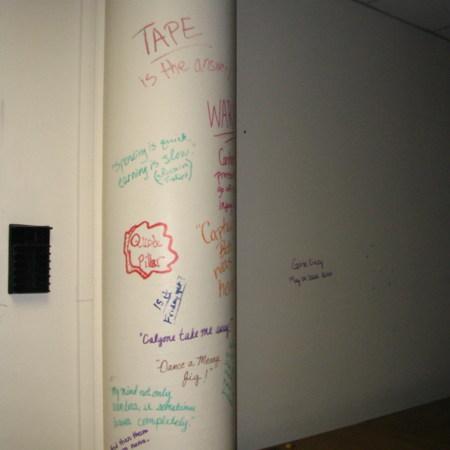 Merrill Library graffiti - Writing on column<br />
