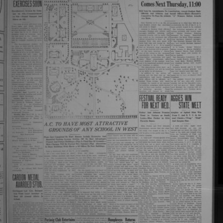 Emil Hansen's 1919 campus plan featured in Student Life newspaper, 1919