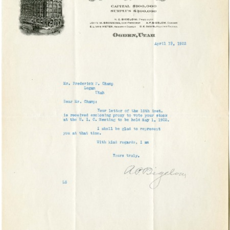 Bigelow's Response, Stockholder Meeting, 1922<br />