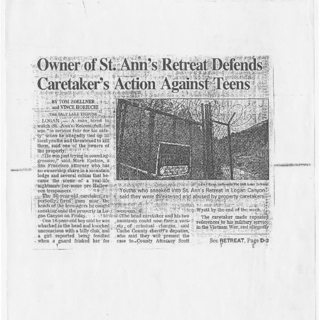 Owner of St. Ann's Retreat Defends Caretaker's Action Against Teens