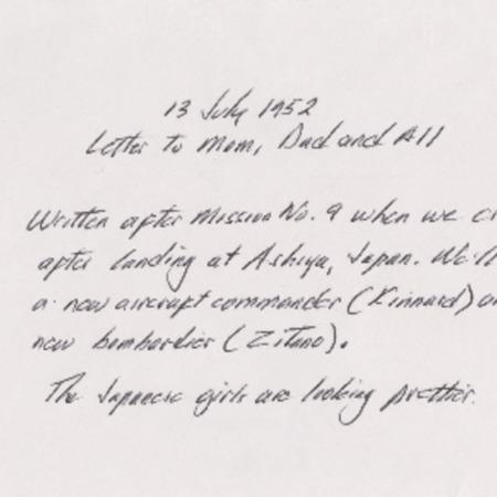 Personal letter from Robert Sorensen to Alma Sorensen, July 13, 1952