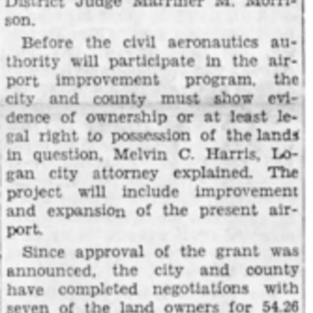 """Court Grants Airport 173.81 Acres of Land"" article in the North Cache News from August 29, 1941"