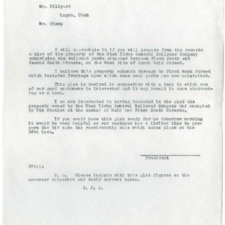 Champ to Hillyard, U.I.C. Property Sale, 1947<br />