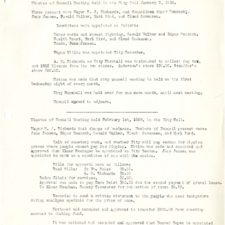 1928 City Council meeting minutes