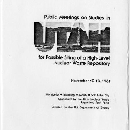 Public Meetings on Studies in UTAH