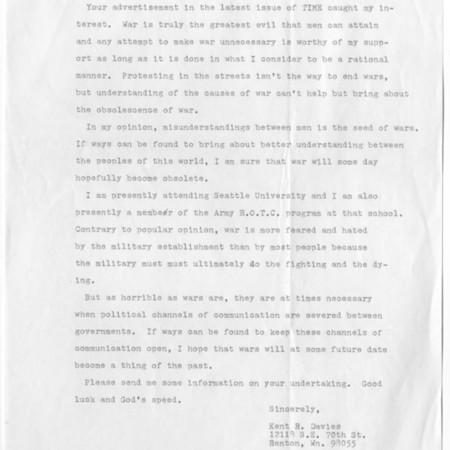 Letter - Kent R. Davies