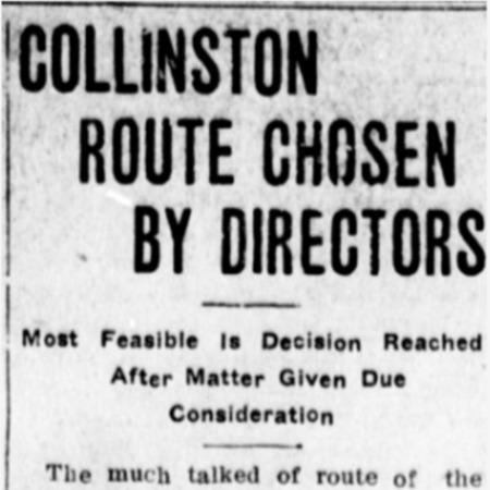 """Collinston Route Chosen by Directors,"" Logan Republican, 1915<br />"
