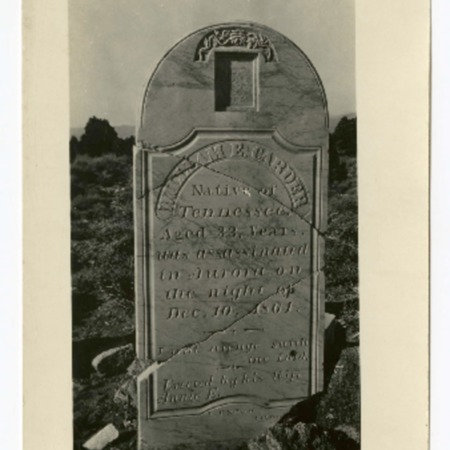 Gravestone of William E. Carder who was killed and buried in Aurora, Nevada in 1864