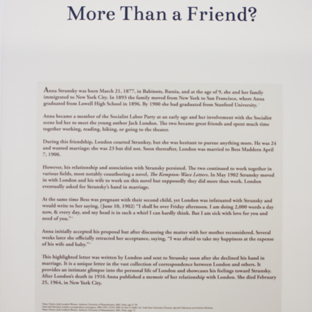 Jack London Exhibit, More Than a Friend Panel, view 2