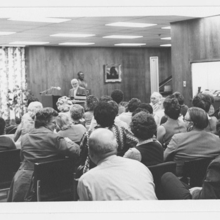 Library meeting in the Merrill Library Special Collections reading room