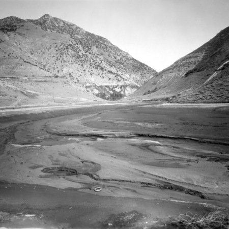 First Dam at the mouth of Logan Canyon, Utah, emptied for repair to the dam