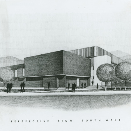 Architectural drawing of the Fine Arts Center. 'Perspective from southwest', 1967