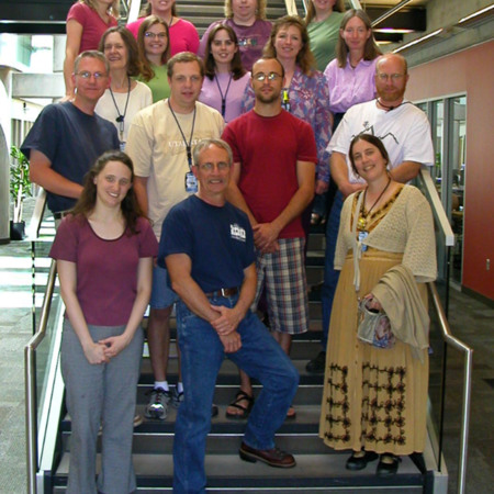 Cataloging and Government Document staff pose on Gabe Wilcoxen's last day of work, July 27, 2006<br />