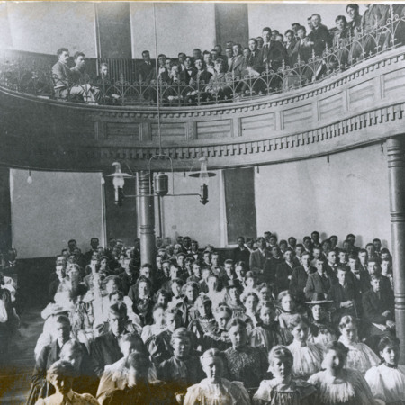 Students in Chapel (Auditorium) in Old Main, 1892<br />