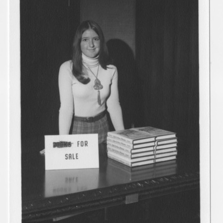 Nancy Roberston at a book sale<br />